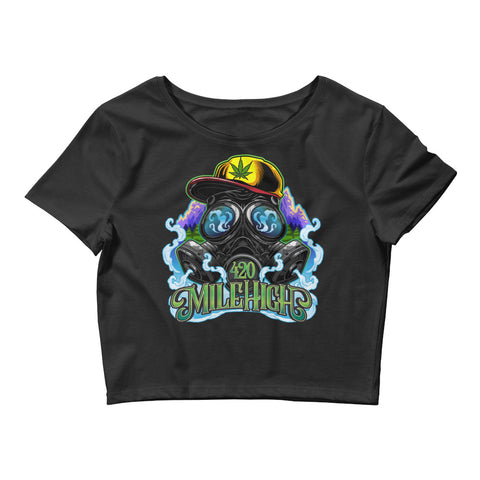 Gas Mask And Weed Womens Crop Top - 420 Mile High
