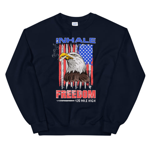 Inhale Freedom Sweatshirt Navy Color | 420 Mile High