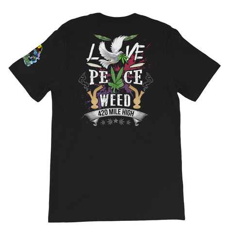 Love Peace Weed Back Print Black T-Shirt | 420 Mile High