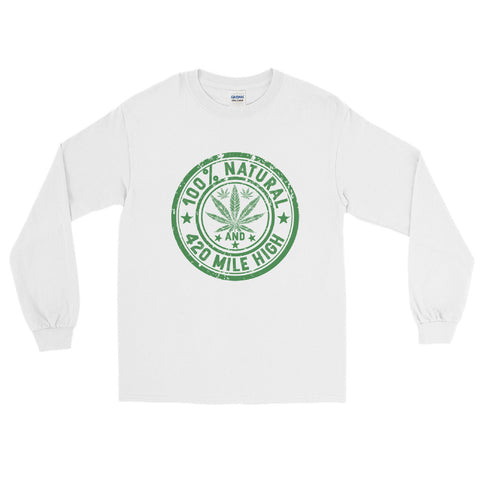 100% Natural Weed Long Sleeve T-Shirt - 420 Mile High