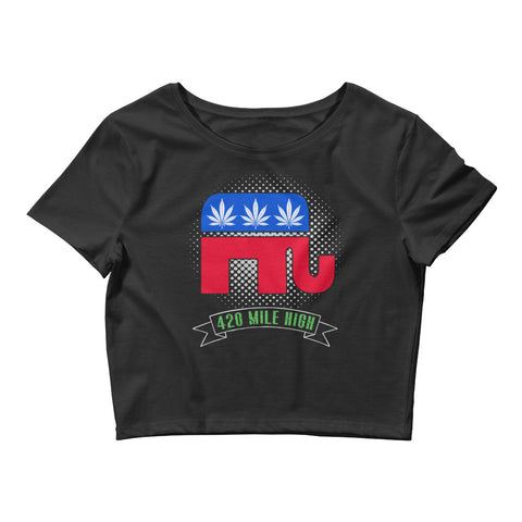 Womens Republican Weed Crop Top - 420 Mile High