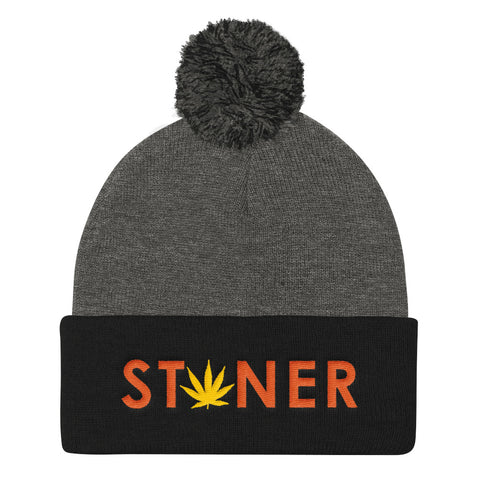 Orange Stoner Yellow Weed Pom Pom Beanie Hat - 420 Mile Hat