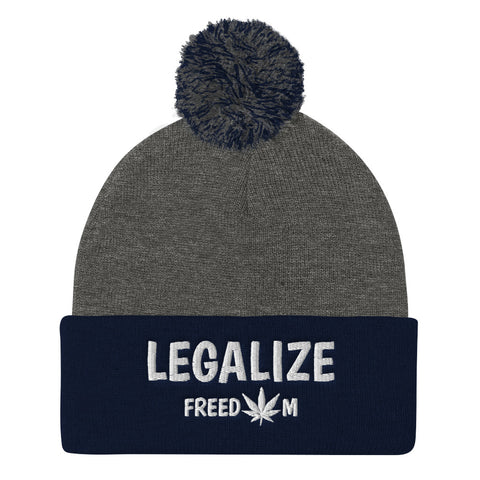Legalize Freedom Knit Pom Pom Beanie Hat - 420 Mile High