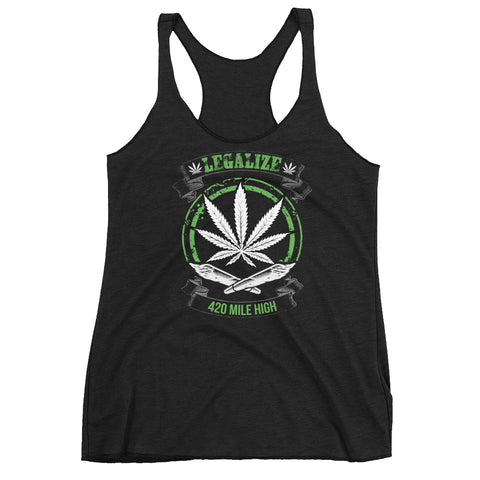 Women's Legalize Marijuana Racerback Tank Top - 420 Mile High