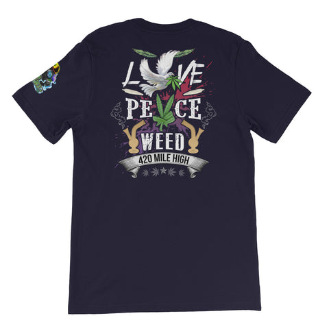 Love Peace Weed Back Print Navy T-Shirt | 420 Mile High