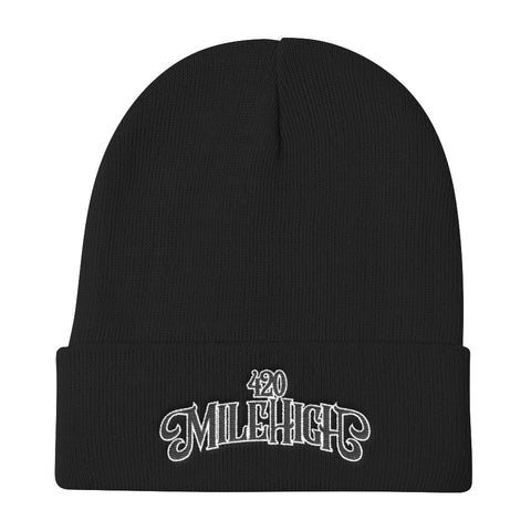 420 Mile High Knit Black Beanie Hat - 420 Mile High