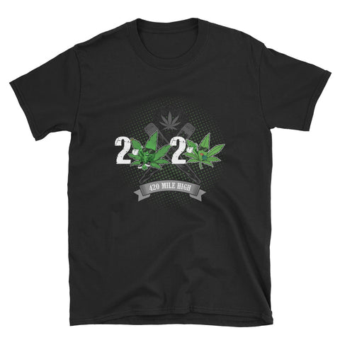 2020 Weed Short-Sleeve Unisex T-Shirt Black Color | 420 Mile High