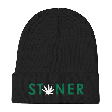 Green Stoner White Weed Knit Beanie Hat - 420 Mile High