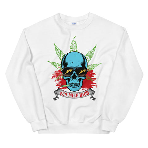 Smoking Weed Sweatshirt White Color | 420 Mile High