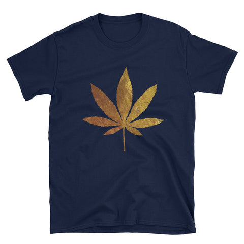 Golden Brown Weed Short-Sleeve Unisex T-Shirt Navy Color |  420 Mile High