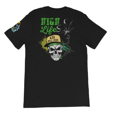 High Life Weed Back Print Black T-Shirt | 420 Mile High