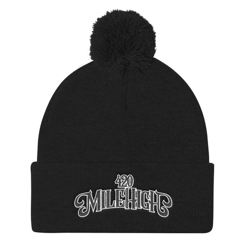 420 Mile High Logo Pom Pom Knit Beanie Hat - 420 Mile High