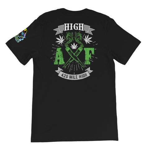 High AF Weed Back Print Black T-Shirt | 420 Mile High
