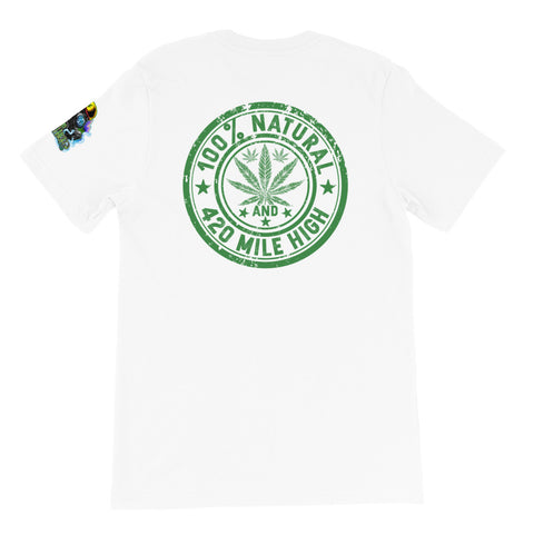 100% Natural Weed Back Print White T-Shirt | 420 Mile High