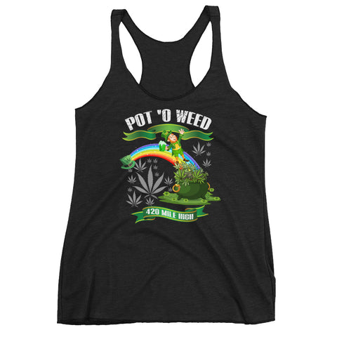 Women's Pot O Weed Racerback Tank Top - 420 Mile High