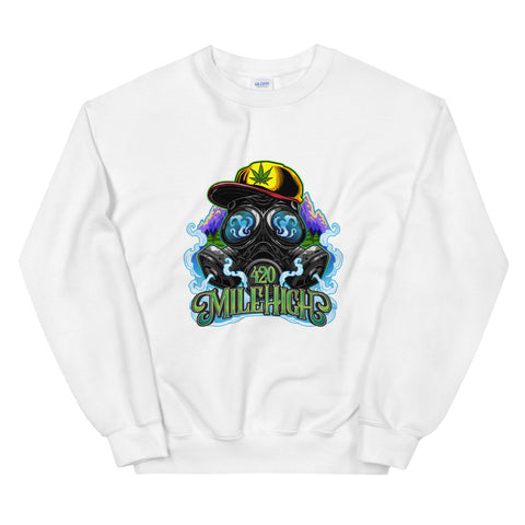 420 Mile High Color Logo Sweatshirt White Color | 420 Mile High