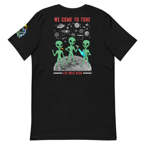 We Come To Toke Back Print Black T-Shirt | 420 Mile High