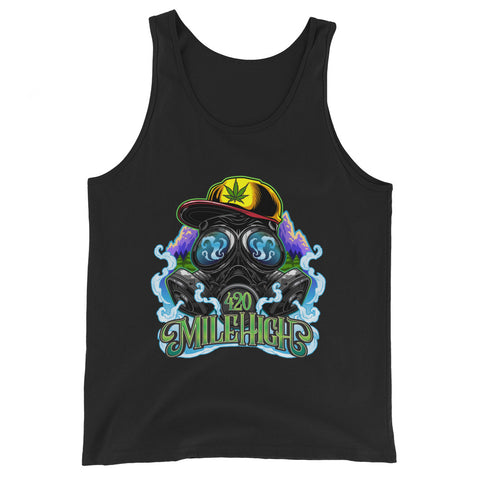 Gas Mask And Weed Unisex Tank Top - 420 Mile High