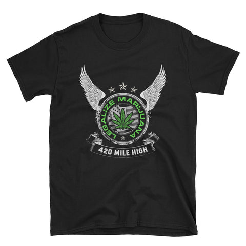Legalize Marijuana Short-Sleeve Unisex Black T-Shirt | 420 Mile High