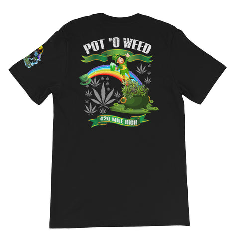 Pot O Weed Back Print Black T-Shirt | 420 Mile High