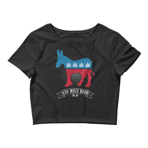 Womens Democrat Weed Crop Top - 420 Mile High
