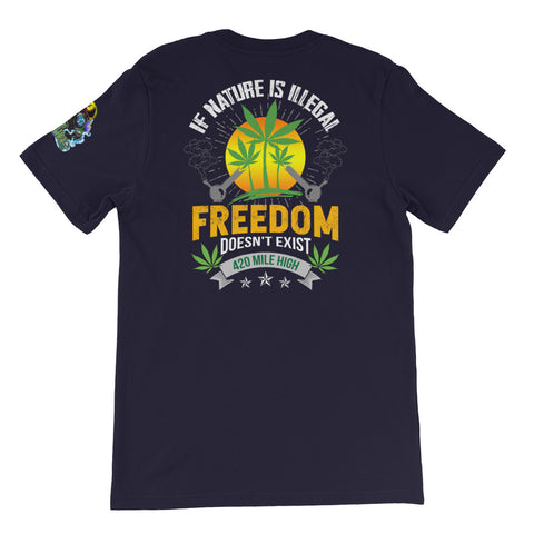 If Nature Is Illegal Weed Back Print Navy T-Shirt | 420 Mile High