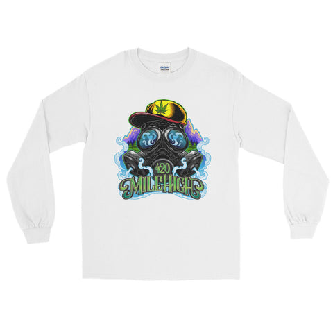 Gas Mask And Weed Long Sleeve T-Shirt - 420 Mile High