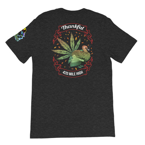 Thankful For Weed Back Print Heather Gray T-Shirt | 420 Mile High