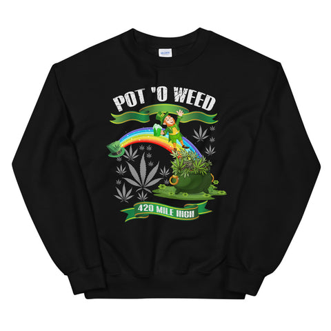 Pot O Weed Sweatshirt Black Color | 420 Mile High