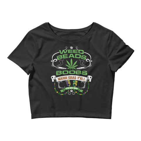 Womens Weed Beads Boobs Crop Top - 420 Mile High