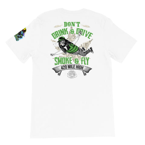 Don't Drink And Drive Weed Back Print White T-Shirt | 420 Mile High