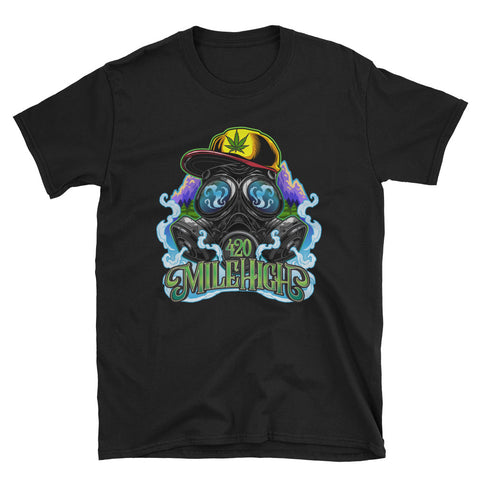 Gas Mask And Weed Unisex T-Shirt Black Color | 420 Mile High