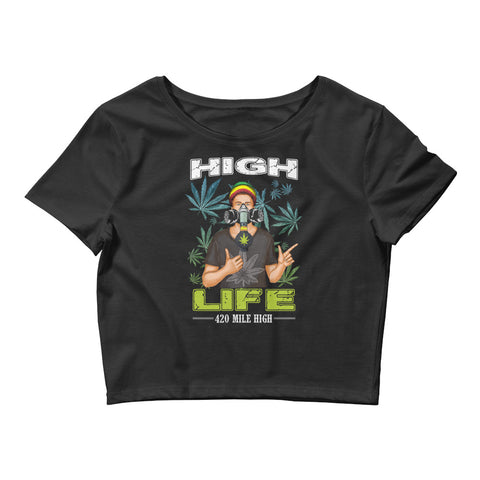 Women's Crop Top Weed Man High Life - 420 Mile High
