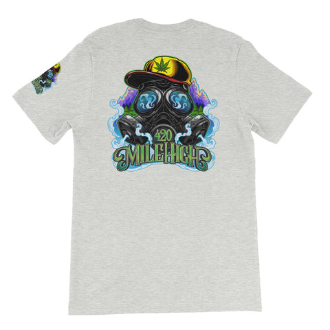 Gas Mask And Weed Unisex Athletic Heather T-Shirt - 420 Mile High