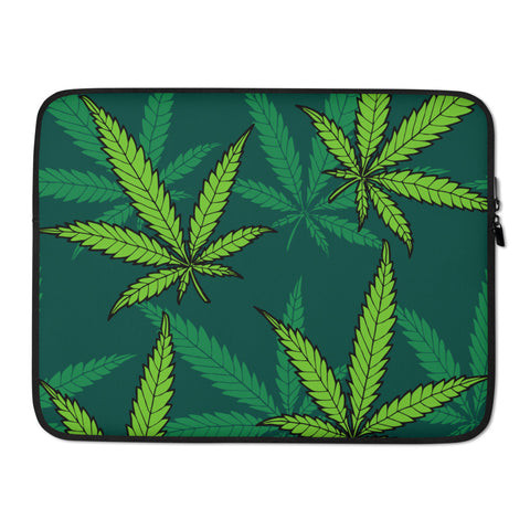 Green Weed Laptop Protective Sleeve - 420 Mile High