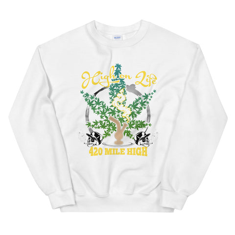 High On Life Sweatshirt White Color | 420 Mile High