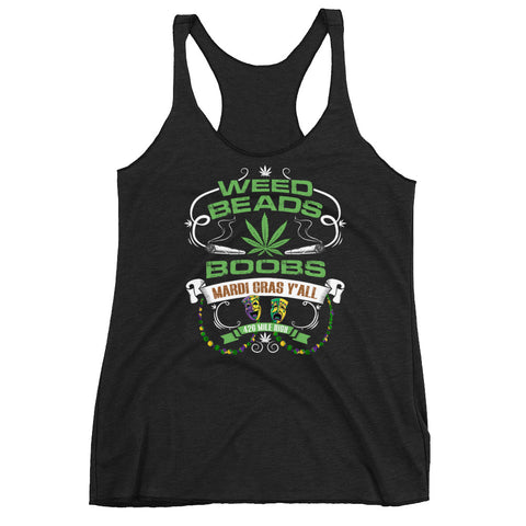 Women's Weed Beads Boobs Racerback Tank Top - 420 Mile High