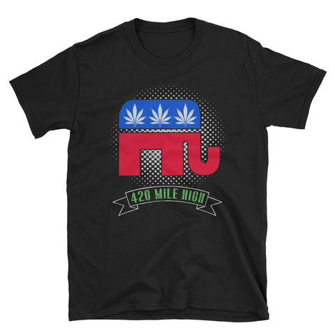 Republican Weed Black T-Shirt | 420 Mile High