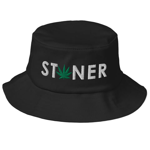 WHITE Stoner GREEN Weed Old School Bucket Hat