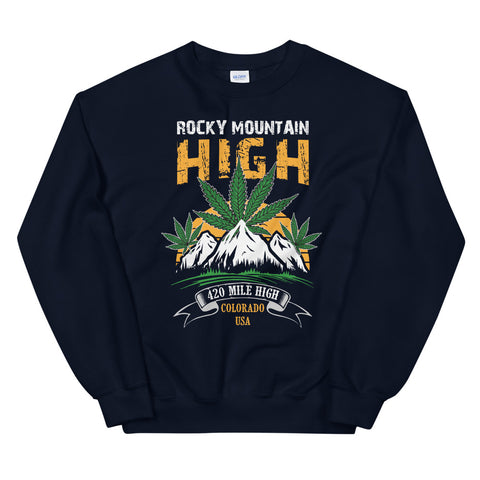 Rocky Mountain High Sweatshirt Navy Color | 420 Mile High