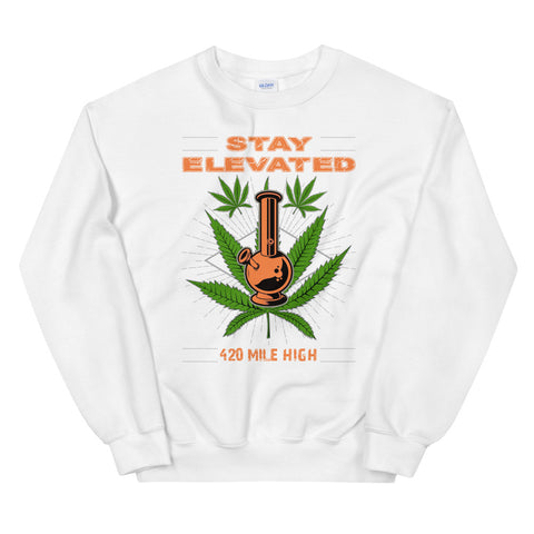 Stay Elevated Sweatshirt White Color | 420 Mile High