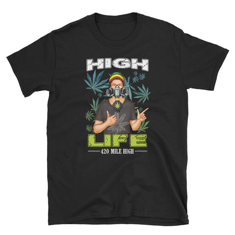 Weed Man High Life Short-Sleeve Unisex Black T-Shirt | 420 Mile High