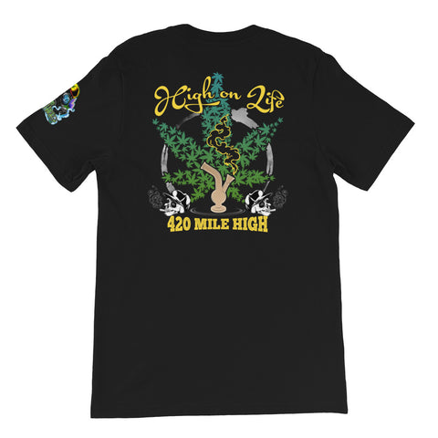 High On Life Weed Short-Sleeve Unisex Back Print T-Shirt