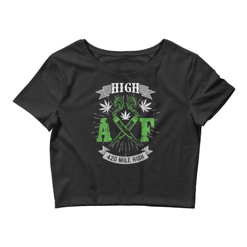 Womens High AF Weed Crop Top - 420 Mile High