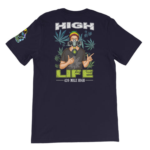 Weed Man High Life Short-Sleeve Unisex Back Print Navy T-Shirt | 420 Mile High