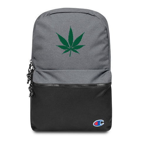 Weed Leaf Embroidered Champion Backpack - 420 Mile High
