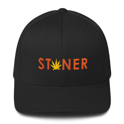 Orange Stoner Yellow Weed Fitted Hat - 420 Mile High