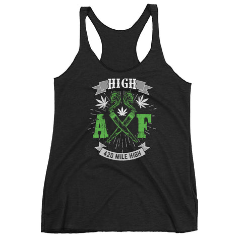 Women's High AF Weed Racerback Tank Top - 420 Mile High