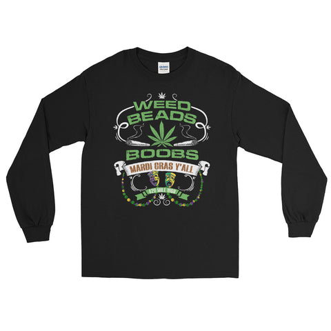 Weed Beads Boobs Long Sleeve T-Shirt - 420 Mile High