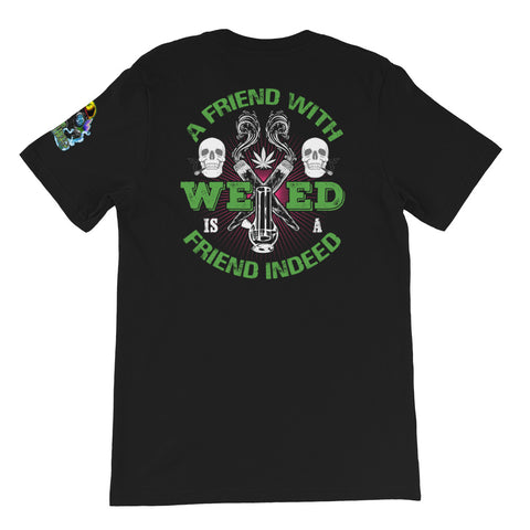 A Friend With Weed Back Print Black T-Shirt | 420 Mile High